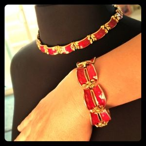 Holiday red gold choker bracelet set